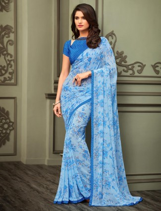 Blue printed georgette saree for festival