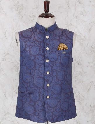 Blue printed jute fabric waistcoat