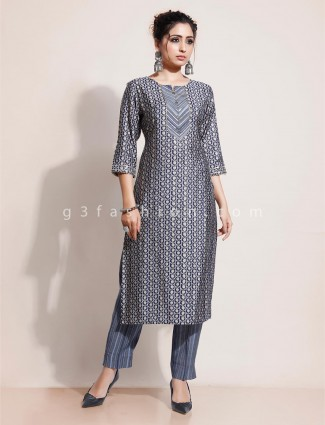 Blue printed kurti with pant for festival