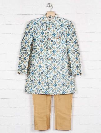 Blue printed pattern silk indo western