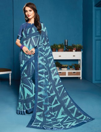 Blue printed saree in georgette for festives