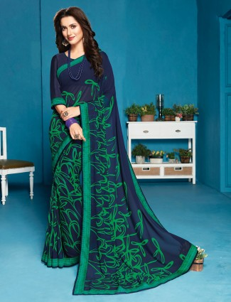 Blue printed saree in georgette with satin border