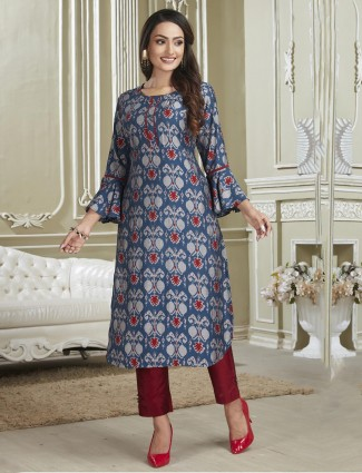Blue punjabi printed suit in cotton