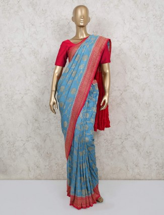Blue pure banarasi silk saree for weddings