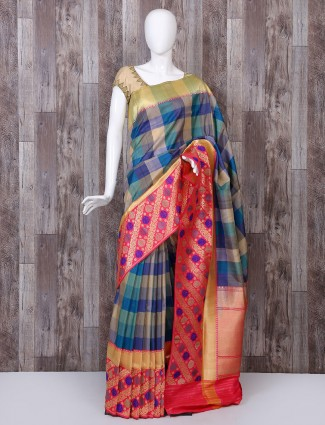 Blue pure banarasi silk wedding saree