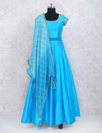 Blue raw silk anarkali salwar suit