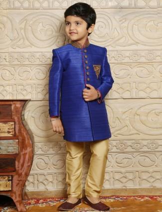 Blue raw silk boys indo western sherwani