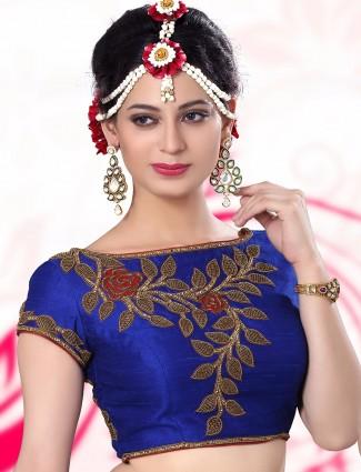 Blue raw silk designer ready made blouse