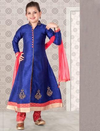 Blue raw silk designer salwar suit