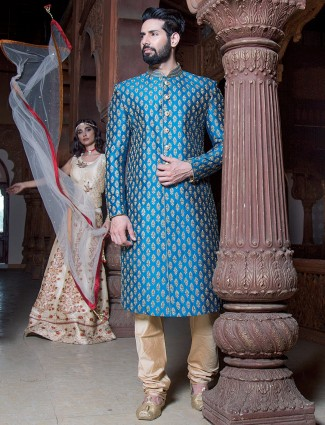 Blue raw silk designer sherwani