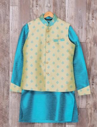 Blue raw silk fabric wedding wear waistcoat set