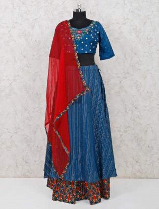 Blue raw silk lehenga choli in party function