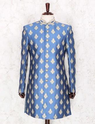 Blue raw silk party wear indo western