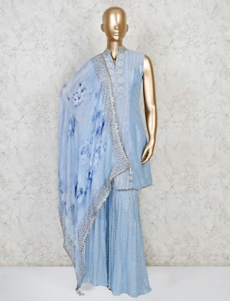 Blue raw silk sharara suit for festive