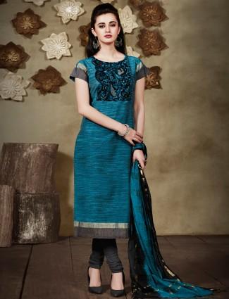 Blue ready made cotton silk salwar suit