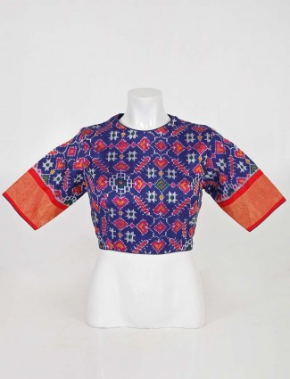 Blue readymade blouse for weddings in patola silk