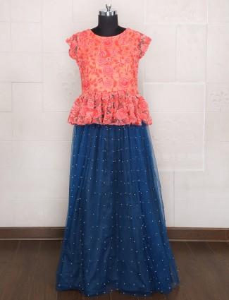 Blue red net attractive lehenga choli