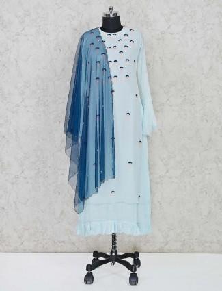 Blue round neck cotton kurti with dupatta