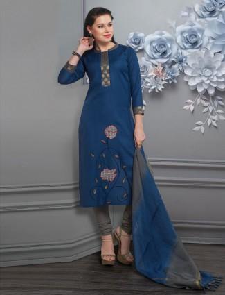 Blue salwar kameez in cotton silk