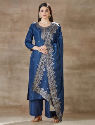 Blue salwar suit design with pant style bottom in cotton silk