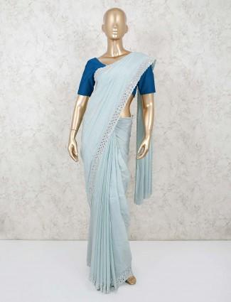 Blue saree design in georgette
