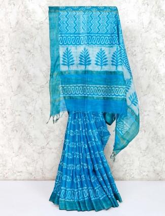 Blue saree in cotton for festive