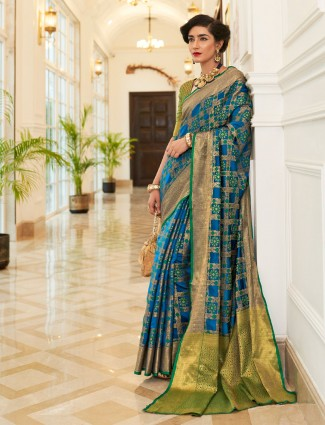 Blue saree in semi banarasi silk for wedding
