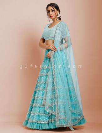 Blue semi stitched frill style net lehenga choli for party