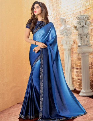 Blue shaded crepe saree