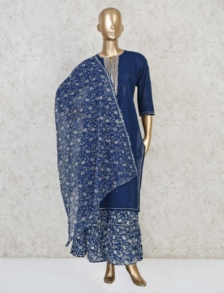 Blue sharara suit in cotton festive wear