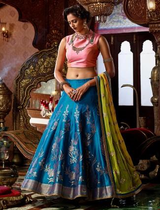 Blue silk designer classy lehenga choli