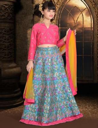 Blue silk designer girls lehenga choli