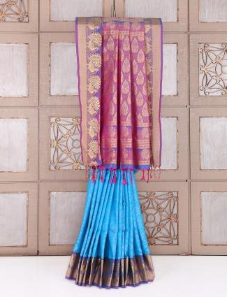 Blue silk designer wedding wear saree