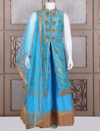Blue silk dressy indo western