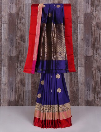 Blue silk dressy wedding wear saree