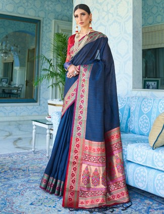 Blue silk embroidery saree design in blue