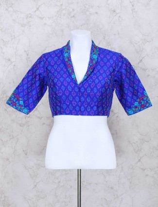 Blue silk fabric ready made blouse