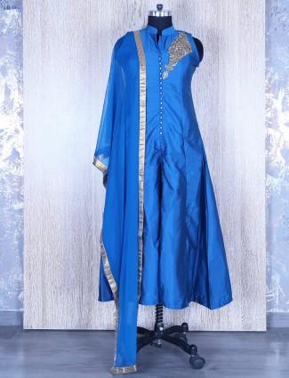 Blue silk festive anarkali suit