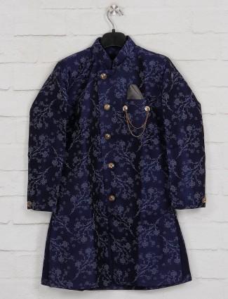 Blue silk festive kurta suit