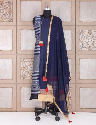 Blue silk festive wear palazzo suit