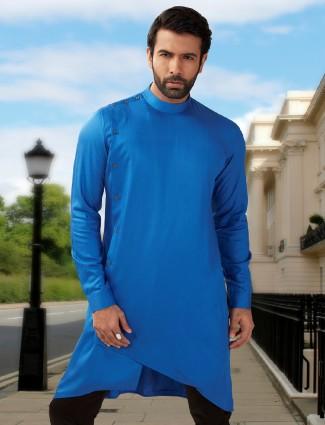 Blue silk festive wear short pathani kurta