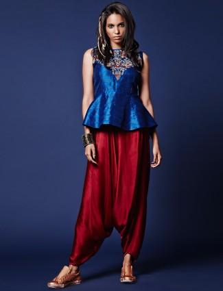 Blue silk peplum salwar suit