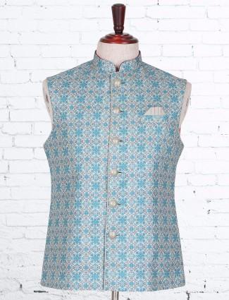 Blue silk printed waistcoat