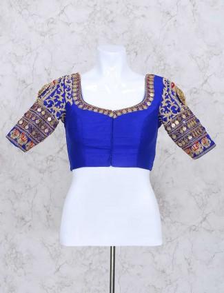 Blue silk ready made zari blouse