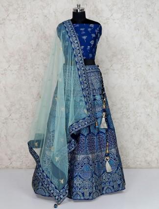 Blue silk semi stitched wedding lehenga choli
