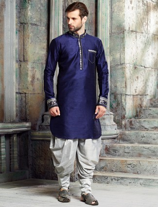 Blue silk solid kurta suit