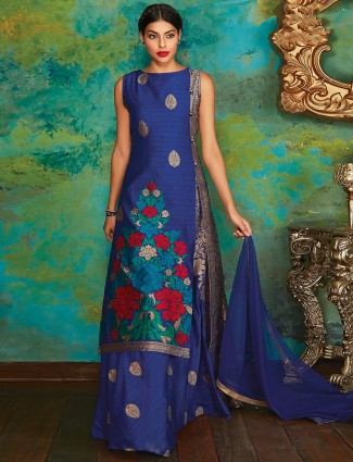 Blue silk wedding lehenga cum salwar suit