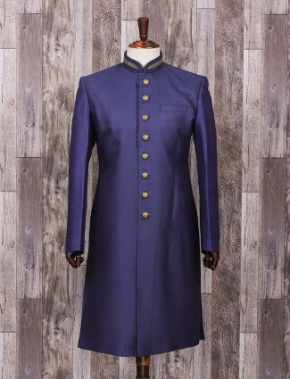 Blue silk wedding sherwani