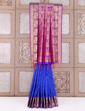 Blue silk wedding wear awesome saree
