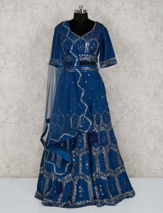 Blue silk wedding wear designer lehenga choli
